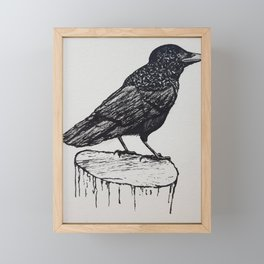 Observant Crow Framed Mini Art Print