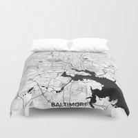 baltimore Duvet Covers featuring Baltimore Map Gray by City Art Posters