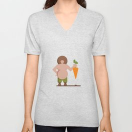 Farmer John with his Bio and Rich Harvest of Carrots Unisex V-Neck