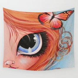 Her Butterfly Friend Wall Tapestry