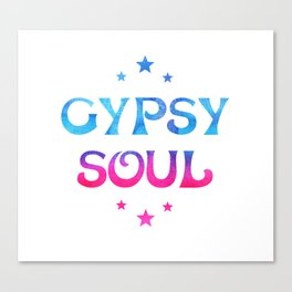 Gypsy Soul Mystical Stars Ombre Tie Dye Blue Pink Canvas Print