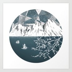 Mountain print , Navy Blue poster , mid century Modern art , travel poster Art Print