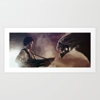 aliens Art Prints featuring Aliens by Jehzbell Black