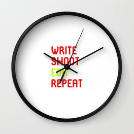 Write Shoot Edit Repeat Red Film School Wall Clock