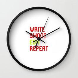 Write Shoot Edit Repeat Red Film School Wall Clock