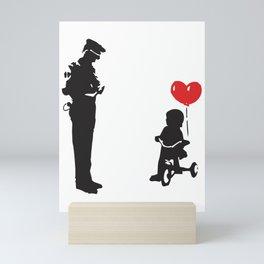 Banksy Policeman & girl on bike, Streetart Street Art, Grafitti, Artwork, Design For Men, Women, Kid Mini Art Print