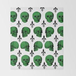 Green Skulls Throw Blanket