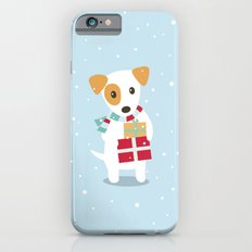 Cute Christmas dog holding a stack of gifts Slim Case iPhone 6s