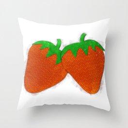 Sweet Summer - Strawberries Throw Pillow