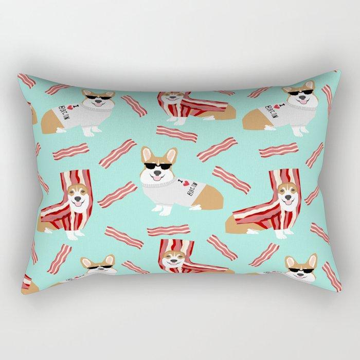 Corgi Bacon art print cute corgis dog bacon food corgis pillow funny bacon design Rectangular Pillow