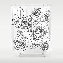 Feminine and Romantic Rose Pattern Line Work Illustration Shower Curtain