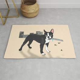 Attack of the Colossal Boston Terrier!!! Rug