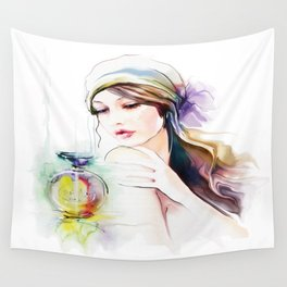 Watercolor Girl V4 Wall Tapestry