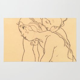"Egon Schiele ""Woman and Girl Embracing"" Rug"