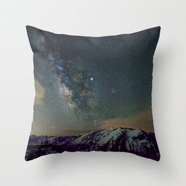 Watercolor Nightscape Milky Way Ute Trail, Rocky Mountain National Park, CO Throw Pillow