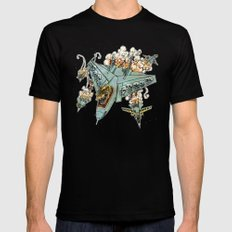 Tyrannosquadron Rex... IN SPAAACE! Black SMALL Mens Fitted Tee