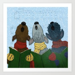 Yappy Howlidays from the Three Terriers Art Print