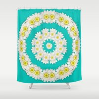 coasters Shower Curtains featuring White Daisies on Turquoise Background by Lena Photo Art