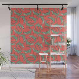 Crocodiles (Deep Coral and Mint Palette) Wall Mural