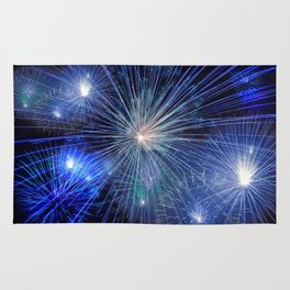 Blue New Year Fireworks Rug
