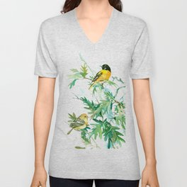 Baltimore Oriole Birds and White Oak Unisex V-Neck