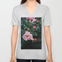 Pink Roses on Dark Teal Blue Green Unisex V-Neck