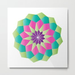 Octagon Colored Mandala Metal Print