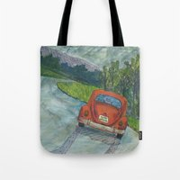 volkswagon Tote Bags featuring Rainy Day Bug by Barb Laskey Studio