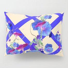 BLUE MORNING GLORIES & BLUE-CREAM LATTICE  DESIGN Pillow Sham