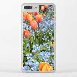 Tulips and Forget Me Nots Clear iPhone Case