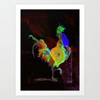 rooster Art Prints featuring ROOSTER by mimulux