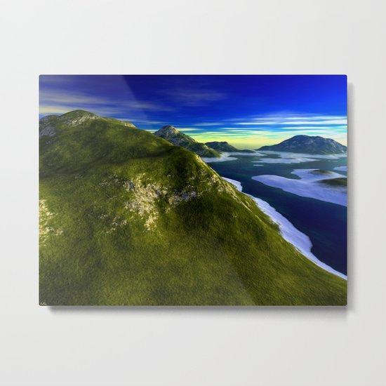 Oceanic Mountain-line Metal Print