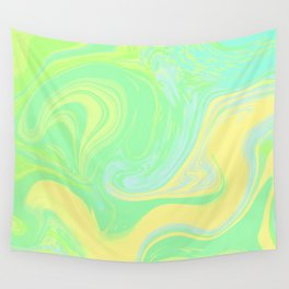Lime Green Marble. Digital Suminagashi Liquid Color Abstraction Wall Tapestry
