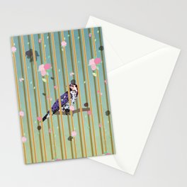 An Elegant Bird in Cage with Flower Graphic Stationery Cards