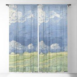 Vincent van Gogh - Wheatfield Under Thunderclouds Sheer Curtain