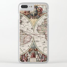 Vintage Maps Of The World Clear iPhone Case
