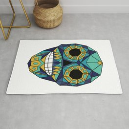 Mexican Skull - Day of the Dead - Blue Green Rug