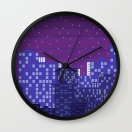 Purple Pixel City Wall Clock