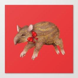 Tapir Red Canvas Print