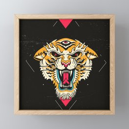 Tiger 3 Eyes Framed Mini Art Print