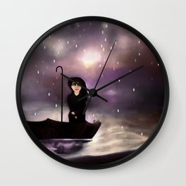 Floating through a coloured perfect world. Wall Clock