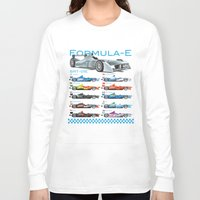 formula 1 Long Sleeve T-shirts featuring Formula E Cars by Pleasure Time