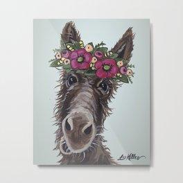Donkey Painting, Flower Crown Donkey Metal Print