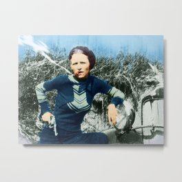 Painting Of Bonnie Parker Of Bonnie And Clyde Mugshot Cigar Gun Metal Print