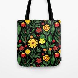 Black yellow orange green watercolor tulips daisies pattern Tote Bag