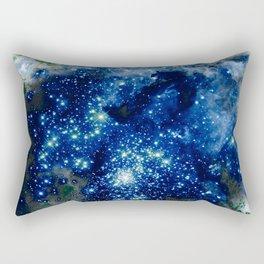 Midnight Blue Green Sparkle Stars Rectangular Pillow