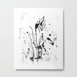 Black and white abstract daffodil painting. 20. Metal Print