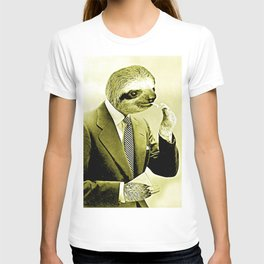 Gentleman Sloth lighting a cigarette T-shirt