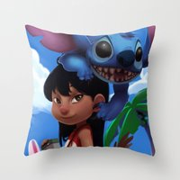 lilo and stitch Throw Pillows featuring Lilo & Stitch by Archiri Usagi