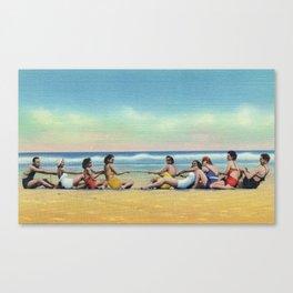 Vintage Tug of War on the Beach Canvas Print